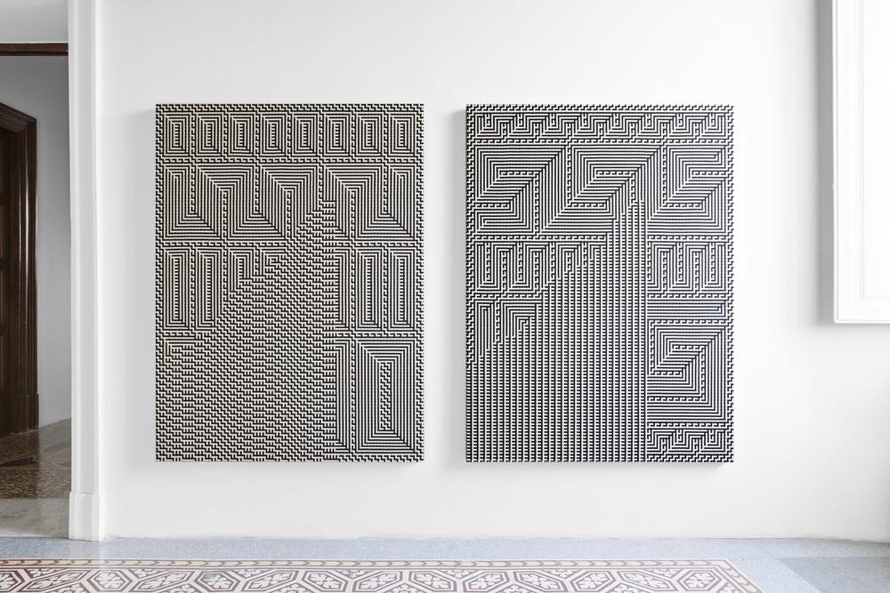 Installation view, Reciprocal Score (Tauba Auerbach and Charlotte Posenenske) at Indipendenza Roma, Rome, 2015. Courtesy of Indipendenza Roma and Standard (Oslo). Photograph by Vegard Kleven.