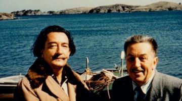 """Salvador Dalí and Walt Disney in Spain,"" 1957. Photograph.  Gift of Diane Disney Miller, collection Walt Disney Family Foundation; © Disney."