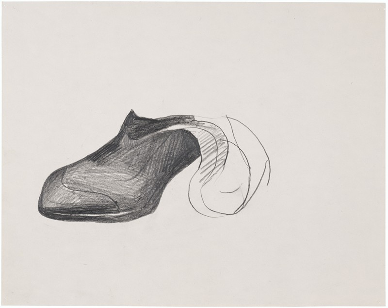 """Jay DeFeo. """"Seven Dwarfs: Bashful,"""" 1989. Graphite on paper. 8 9/16 x 10 7/8 inches, 17 x 18 3/4 inches framed. Courtesy of Hosfelt Gallery"""