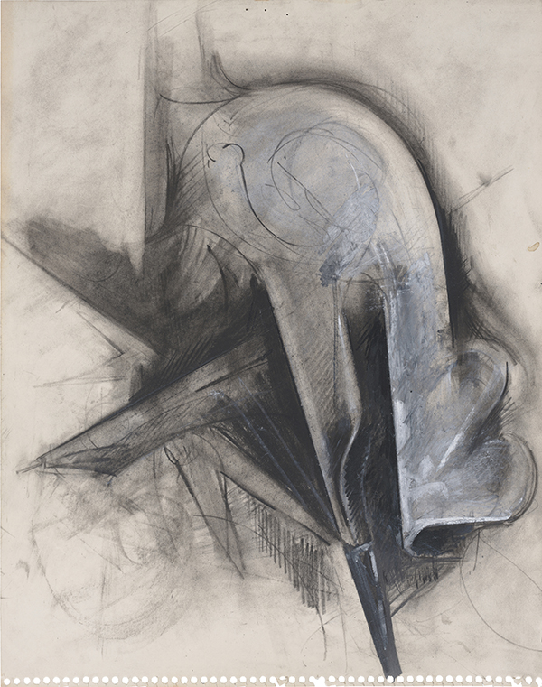 "Jay DeFeo. ""Untitled (Compass series),"" 1979. Charcoal and oil pastel on paper. 14 x 11 inches, 20 3/4 x 20 1/4 inches framed. Courtesy Hosfelt Gallery"