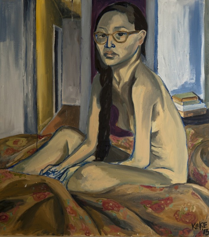Elaine On Bed, 2014. Oil on canvas,  40 x 36 inches. Courtesy of Fouladi Projects.