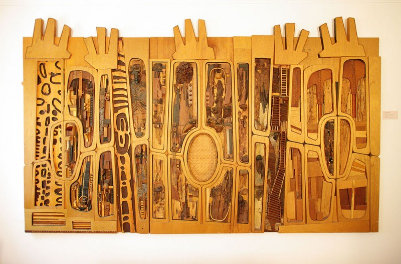 "Noah Purifoy. ""Black, Brown and Beige (After Duke Ellington),"" 1989. 68 x 113 in. Sue A. Welsh Collection. © Noah Purifoy Foundation. Photo courtesy Noah Purifoy Foundation, by Seamus O' Dubslaine"