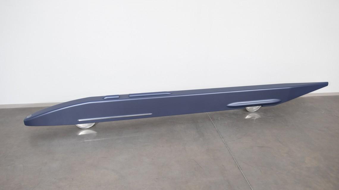 Gianni Piacentino, Matt Metal Gray-Blue Record Vehicle, 1988-2003. Water based enamel (2k acrylic matt finish) on wood and resin, polished aluminum (anticorodal), aluminum. 14.25 x 149.5 x 7.75 inches. Courtesy of Altman Siegel.