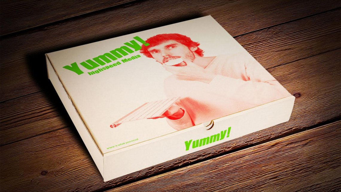 "Kim Asendorf and Ole Fach. ""Yummy!,"" 2015. Print on cardboard box. Courtesy the artists / DAM Gallery"