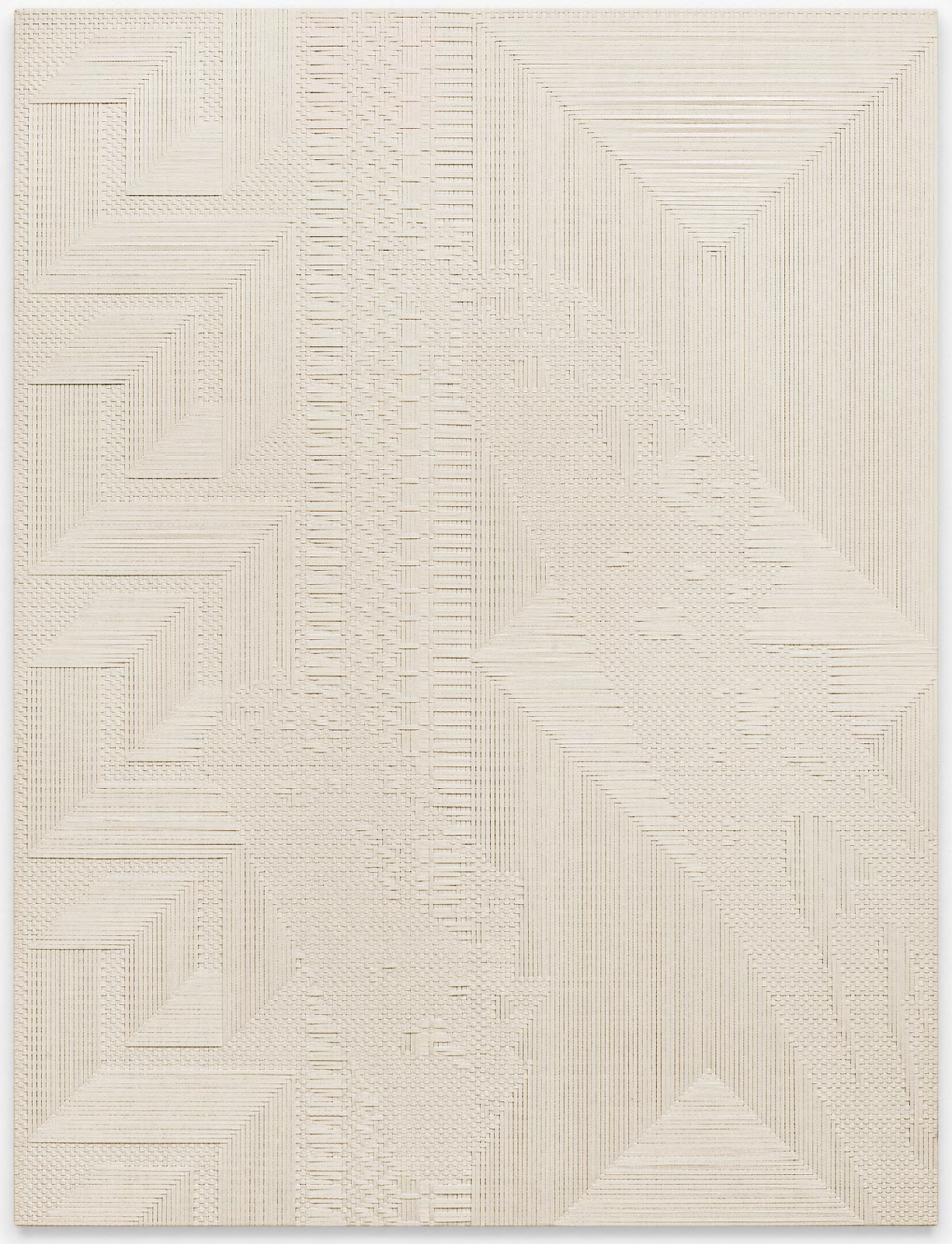 """Chiral Fret / Slice,"" 2014. Woven canvas on wooden stretcher. 72 x 54 inches. Courtesy of Standard (Oslo). Photograph by Vegard Kleven."