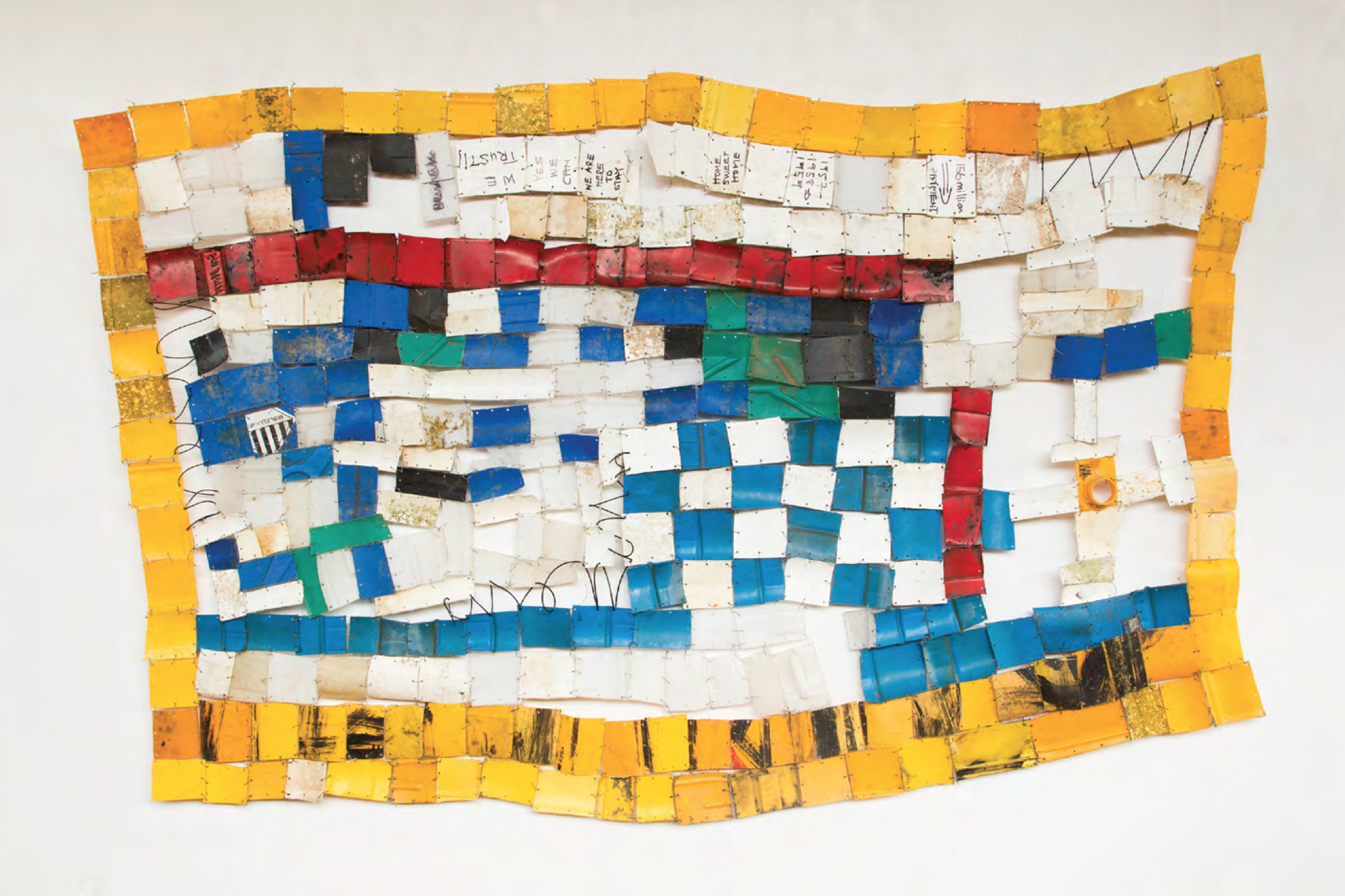 Serge Attukwei Clottey, American Lottery, 2015. Plastic, wire and oil paint, 94 x 51 inches. Courtesy of the artist.