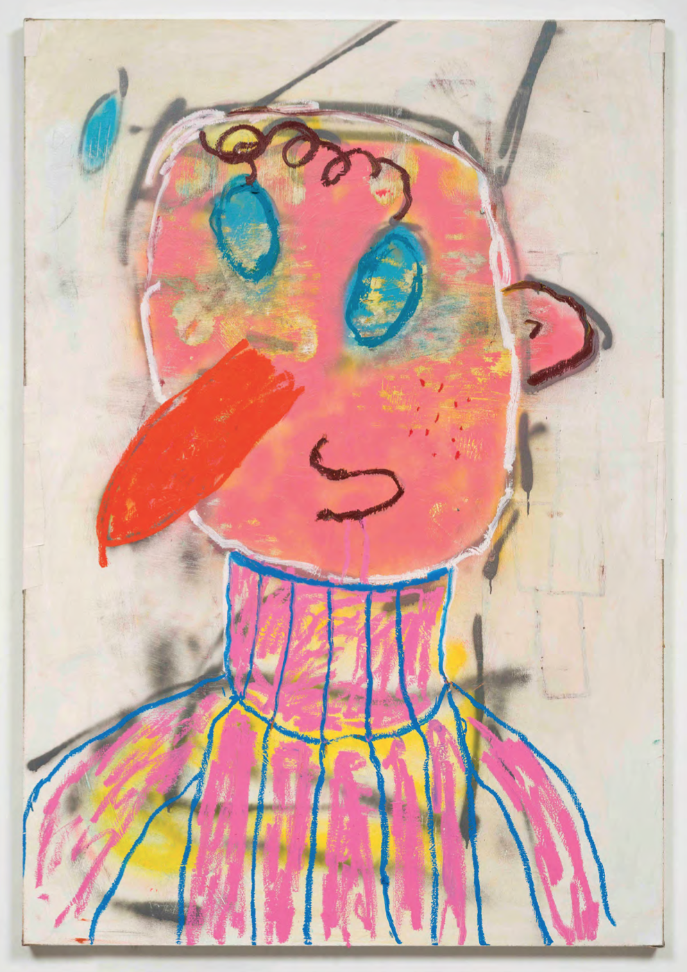 Marc Horowitz, Chad Augustine, 2015. Oil stick, gaffers tape, acrylic spray paint, marker on linen, 65 x 45 inches. Courtesy of the artist.