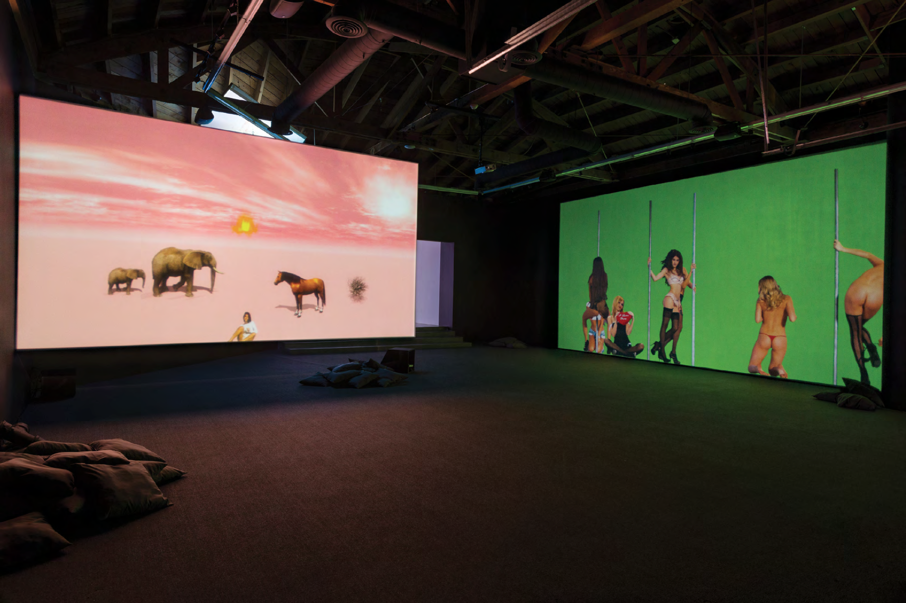 Installation view, NIKI, LUCY, LOLA, VIOLA, Petra Cortright at Depart Foundation, Los Angeles, 2015. Courtesy of the artist.
