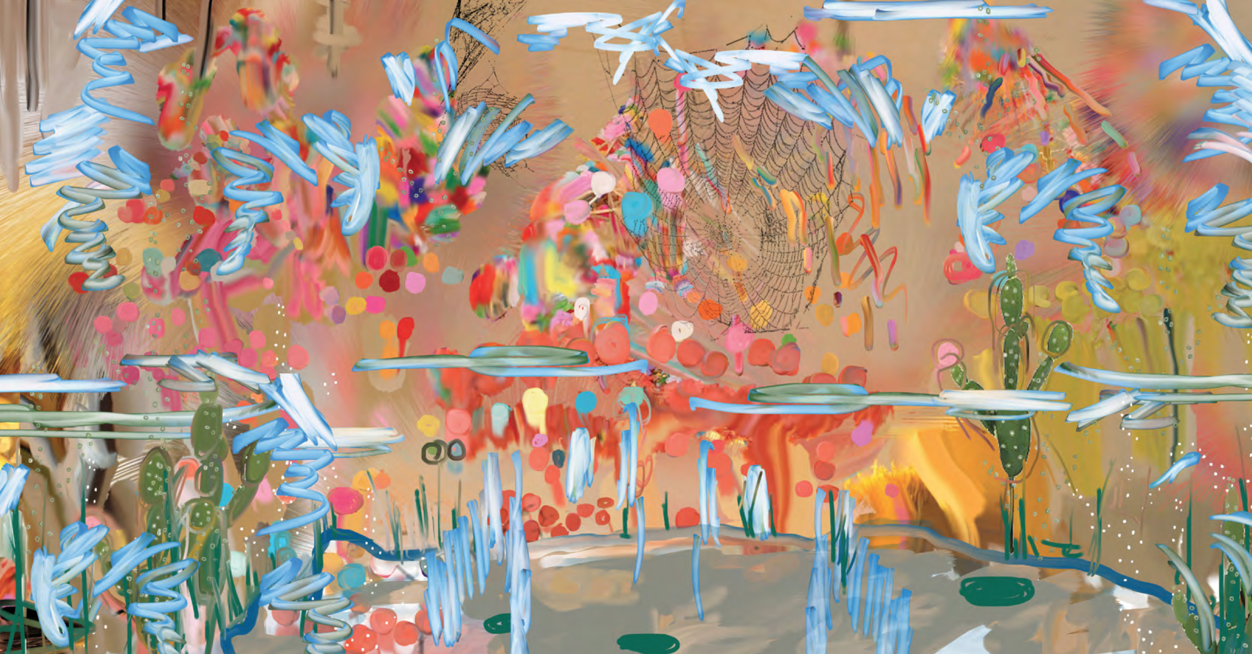 Petra Cortright, 2big teensbig, 2014. Digital painting on aluminum, 48 x 91.5 inches. Courtesy of the artist.