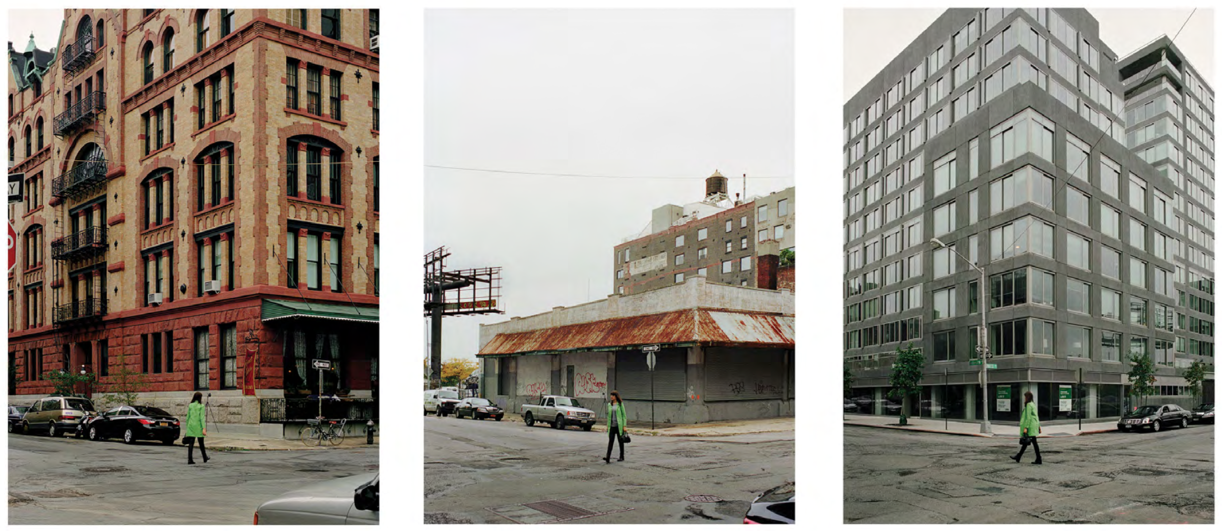 Barbara Probst, Exposure #94: N.Y.C., Washington & Watts Streets, 10.18.11, 1:02 p.m., 2011. Ultrachrome ink on cotton paper, 3 parts, 61 x 44 inches each. Courtesy of Murray Guy.