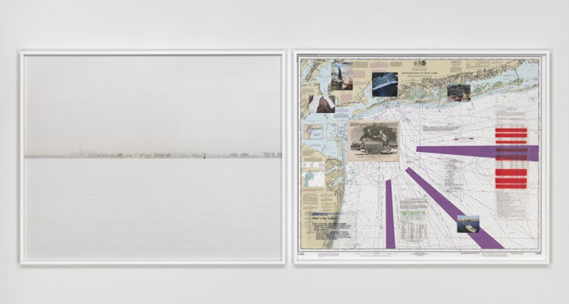 "Trevor Paglen. ""NSA-Tapped Fiber Optic Cable Landing Site, New York City, New York, United States,"" 2015. c-print and mixed media on navigational chart, 48 x 60 inches (c-print), 121.9 x 152.4 cm. Courtesy of the artist and Metro Pictures. 48 x 58 1/2 inches (map) 121.9 x 148.6 cm"