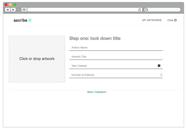 Screenshot from Ascribe.io tour showcasing interface for uploading content. Courtesy of Ascribe.