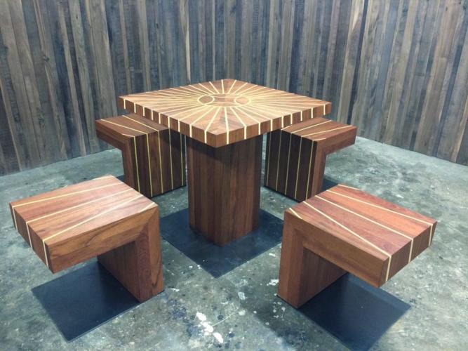 "Edra Soto and Dan Sullivan. ""DominoDomino,"" 2014. Domino table with four stools, inlaid corian on jatoba wood. 30 x 30 x 30 in. Courtesy Morgan Lehman Gallery."