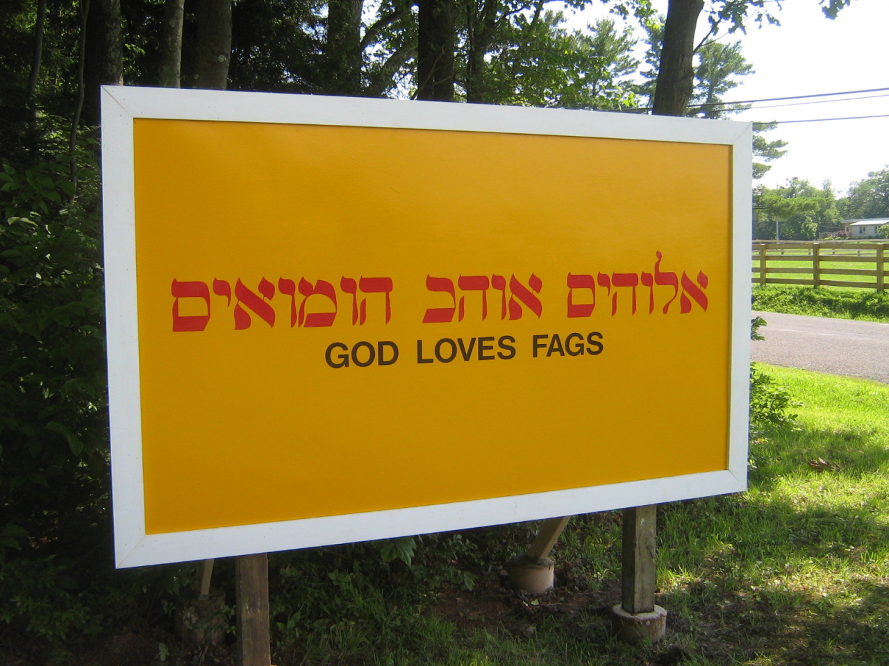 Mike Osterhout, GOD LOVES FAGS, 2011. Courtesy of the artist.