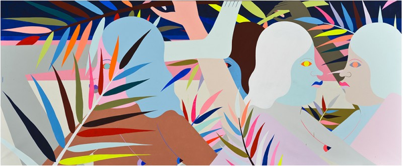 """Richard Colman. """"In The Woods,"""" 2015. Acrylic on Canvas, 192""""x79"""". Image courtesy of Richard Colman and Chandran Gallery."""
