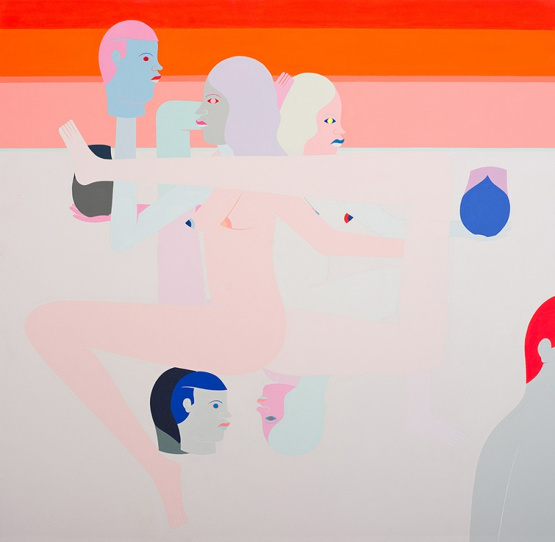 "Richard Colman. ""Three Figures, Five Heads (orange),"" 2015. Acrylic on canvas. Image courtesy of Richard Colman and Chandran Gallery."