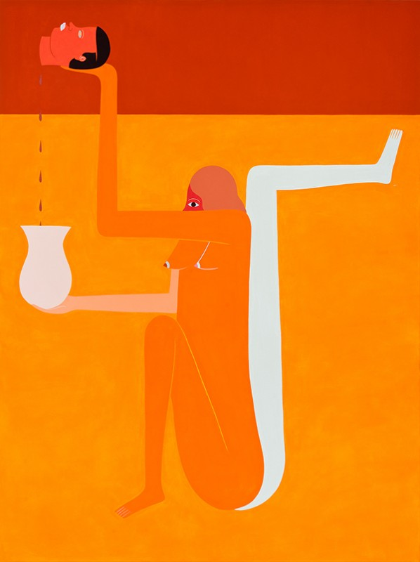 "Richard Colman. ""Orange Painting,"" 2015. Acrylic on canvas, 36""x48"". Image courtesy of Richard Colman and Chandran Gallery"
