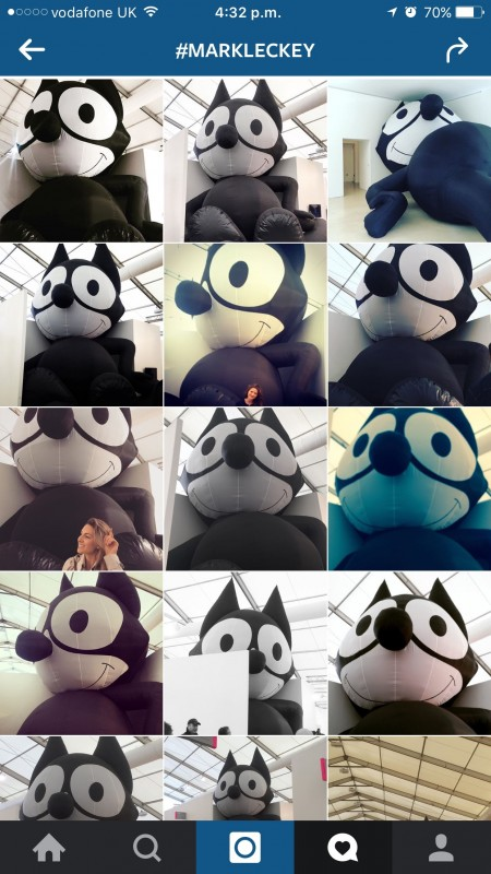 "Mark Leckey, ""Inflatable Felix,"" 2014. Screen shot from Instagram"