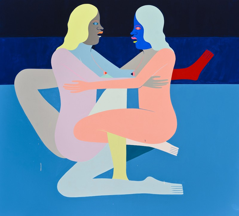 "Richard Colman. ""Before and After Us (Two Figures),"" 2015. Acrylic on Canvas, 80""x72"". Image courtesy of Richard Colman."
