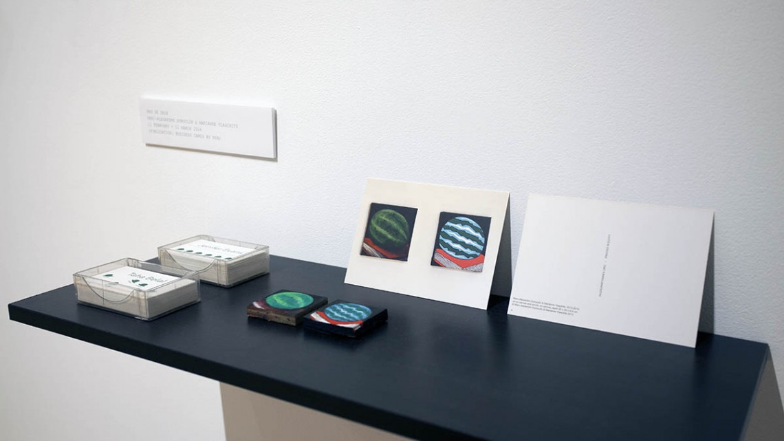 Shelves representing previous Nile Sunset Annex exhibitions, each with mini-approximation, postcard and publication at Haines Gallery for Nile Sunset Annex: The Many Hats, 2015. Mixed media, dimensions variable. Photo courtesy Nile Sunset Annex/Haines Gallery.