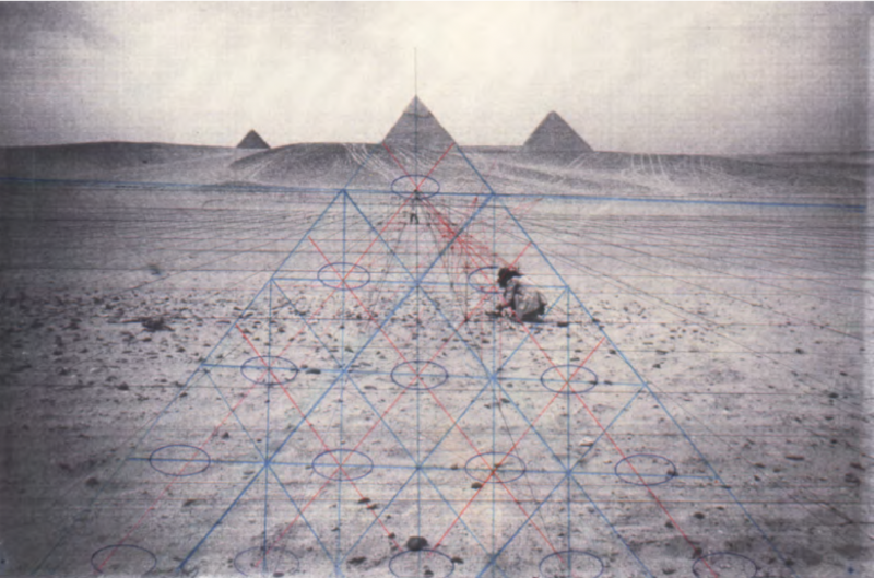 Sol Star (Triangular Grid), 2013 (from preliminary study for the Sixth Cairo International Biennale, 1996). Pigment print on silver paper, 16.5 x 13 inches. Courtesy of the artist and Kohn Gallery.