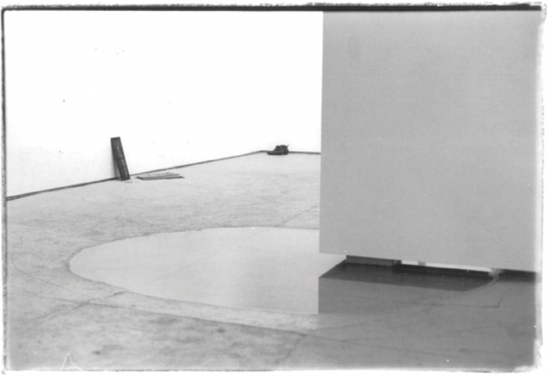 Evaporated, 1970. 25 gallons of water. Installation view at Gallery Reese Palley, San Francisco, 1970. Courtesy of the Terry Fox Archives.