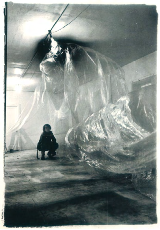Performance Sheet, 1969. Polyethylene sheeting, fan. Installation view at Van De Voort Gallery, San Francisco, 1969. Courtesy of the Terry Fox Archives.