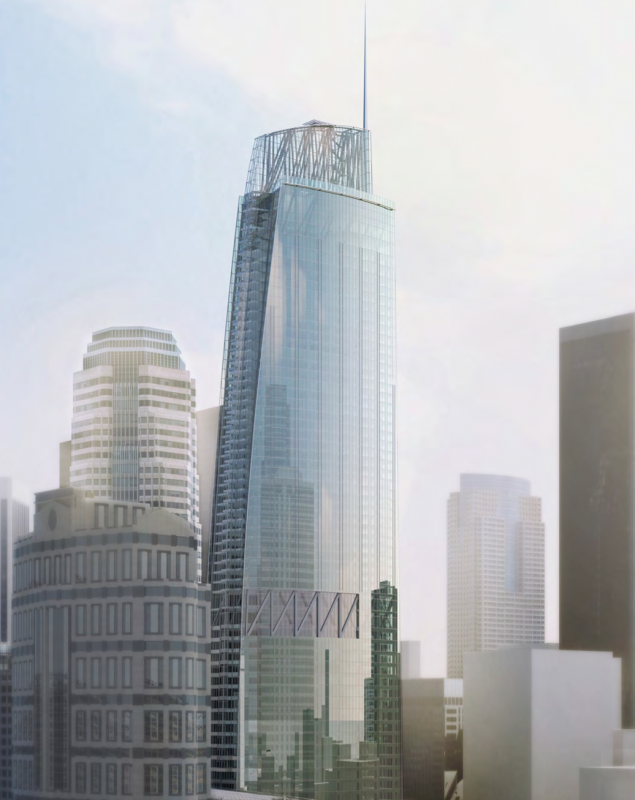 Wilshire Grand Center in Los Angeles, CA. Currently under construction, foundation laid in 2014. Courtesy of the Internet.
