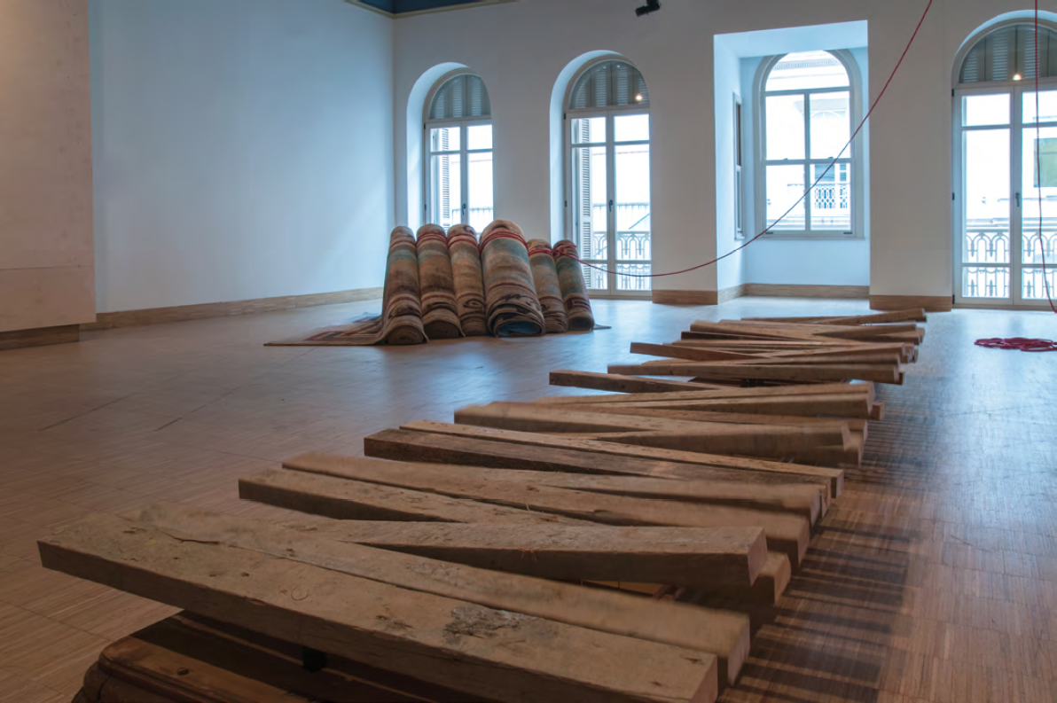Hera Büyüktaşçıyan, Destroy your house, build up a boat, save life!, 2014-2015 and Docks, 2014. Courtesy of SALT and the artist. Photograph by Mustafa Hazneci.