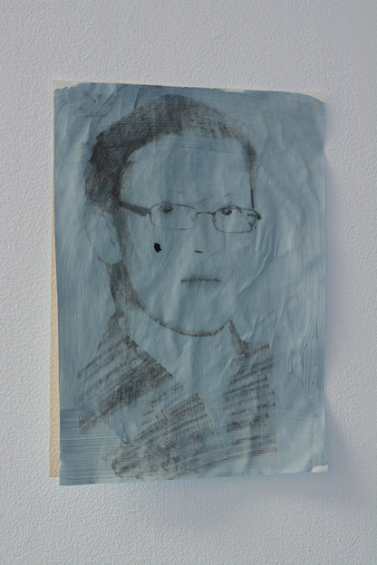"Lee Kit. ""Portrait of a boy (detail),"" 2015. Emulsion paint, pencil and inkjet on drawing paper, readymade objects, 2 plastic boxes, looped projection. Dimension variable. Projection size: 151 x 100cm, 16:9. Drawing size: 17.3 x 23.3 cm. Courtesy mother's tankstation."