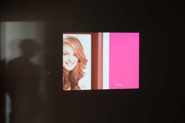 """Lee Kit. """"Sorry Betty,"""" 2015. Digital video, looped. Projection size: 97 x 129cm, 4:3. Courtesy mother's tankstation"""