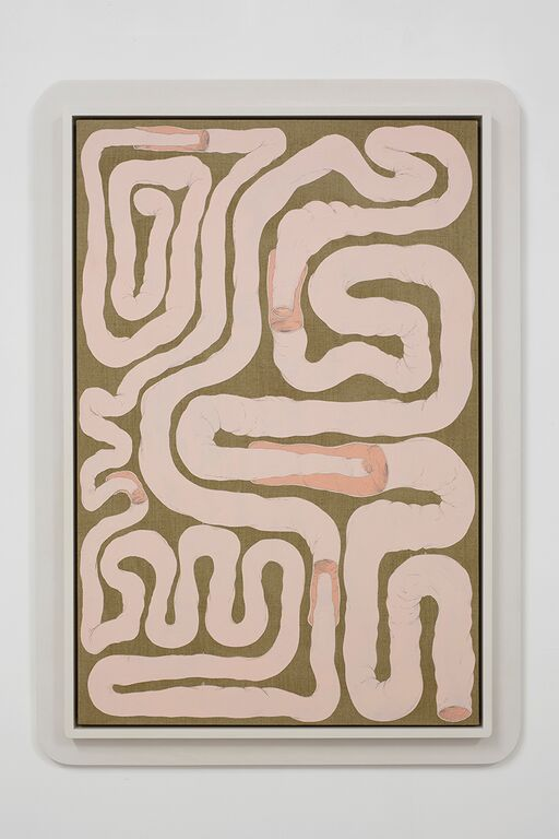 Julian Hoeber, Intestinal Floorplan/Security Apparatus, 2015. Flashe and acrylic on linen in artist's frame, 49 x 35 in. (125 x 88 cm). Courtesy of the artist and Jessica Silverman Gallery.