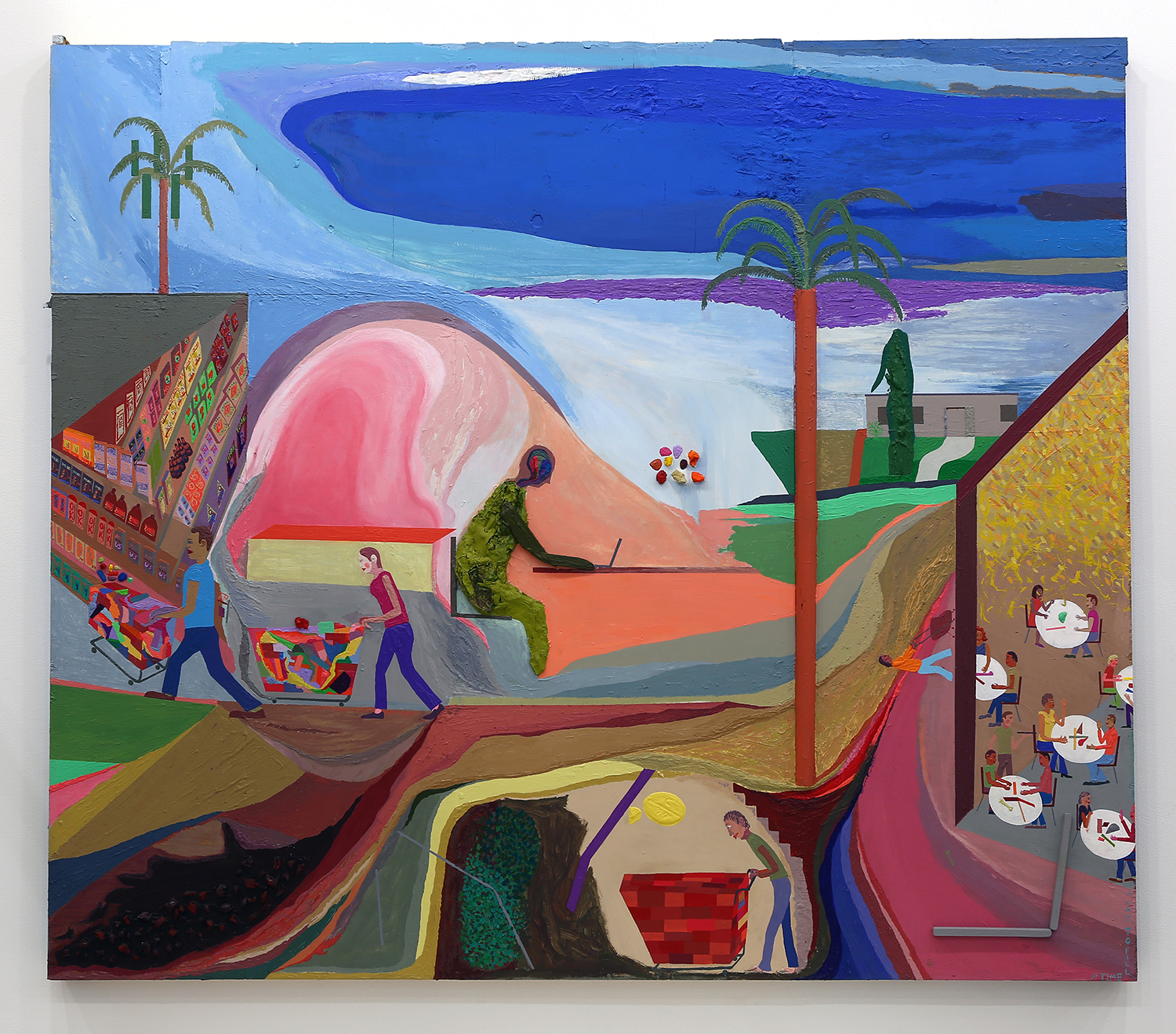 Chris Johanson, Los Angeles with Pills, 2015. Acrylic on found wood, 168.9 x 193 cm (66 1/2 x 76 in). Courtesy of the Artist and Altman Siegel.