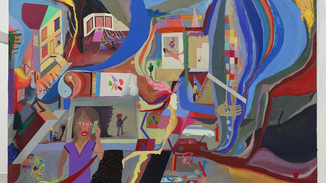 Chris Johanson, The Big Picture Escapes Me, 2015. Acrylic on found wood, 162.6 x 213.4 cm (64 x 84 in). Courtesy of the Artist and Altman Siegel.
