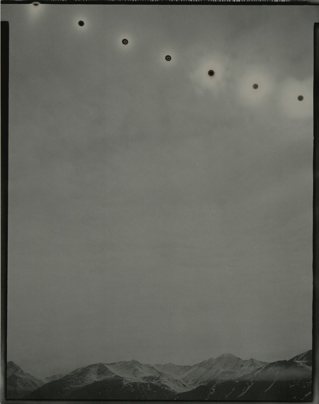 Chris McCaw, Sunburned GSP #814 (Alaska), 2014. Unique gelatin silver paper negative, Paper: 14 x 11 inches / Frame: 17.5 x 14.5 inches. Courtesy the artist and Haines Gallery