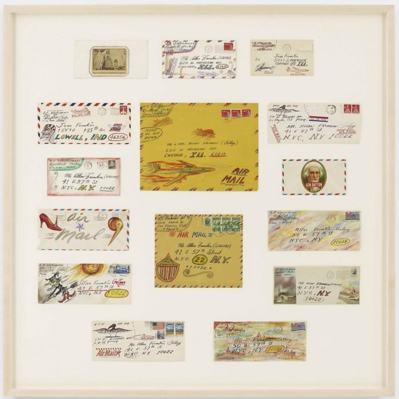 H.C. Westermann, 15 decorated envelopes sent to Allan Frumkin. Courtesy of Venus Over Manhattan.