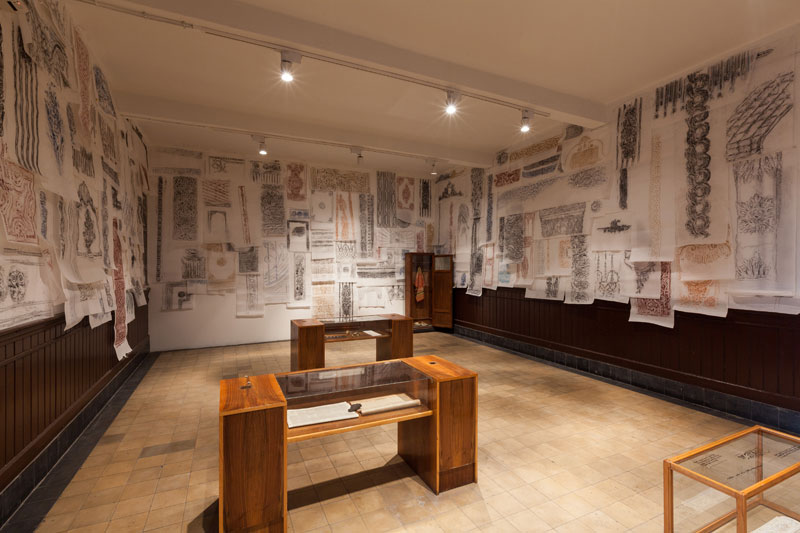 Michael Rakowitz, The Flesh Is Yours, The Bones Are Ours, 2015. Plaster molds, casts, dog skeletons from Sivriada, bones of livestock from dispossessed Armenian farms in Anatolia, fragments of lost Louis Sullivan building in Chicago, rubbings, photos, and letters. Photograph by Sahir Ugur Eren. Courtesy of IKSV.