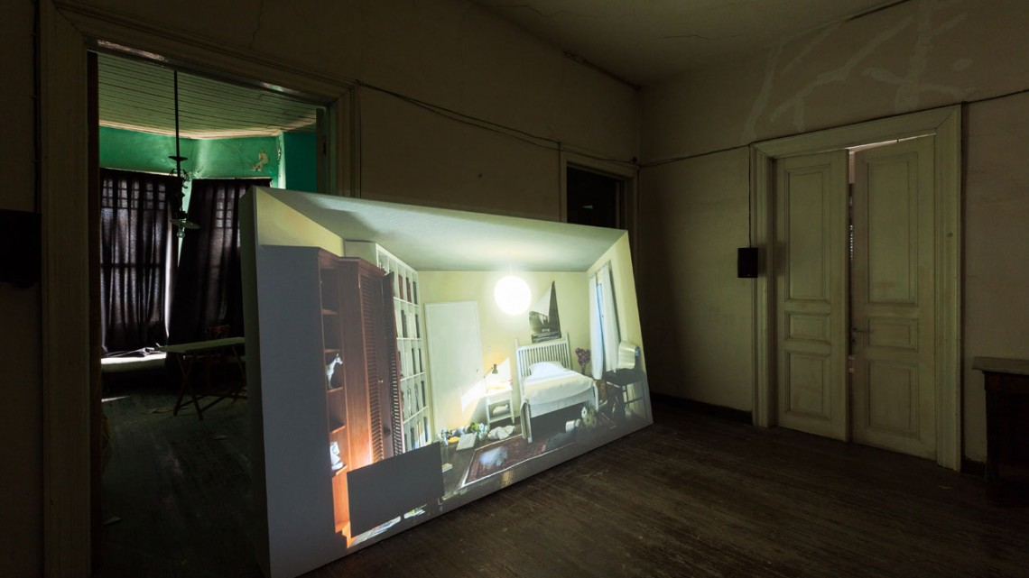 Ed Atkins, Hisser, 2015. Two-channel video with multiple audio channels and mixed media. Photograph by Sahir Ugur Eren. Courtesy of IKSV.
