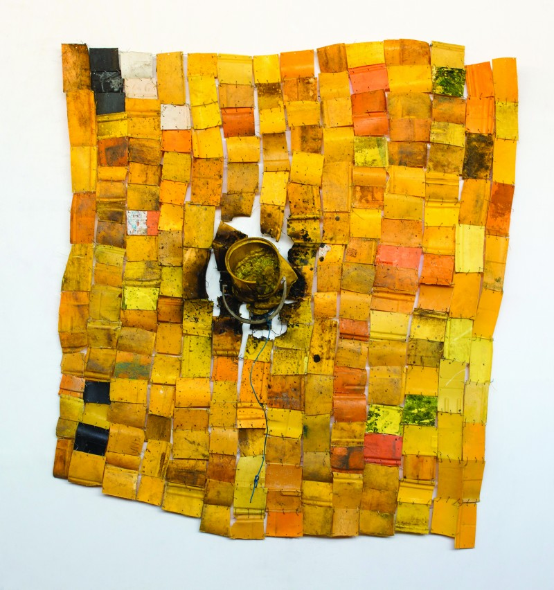 Serge Attukwei Clottey, Signed and Sealed. Plastics, wire, and oil paint. 65 x 59 inches. 2015
