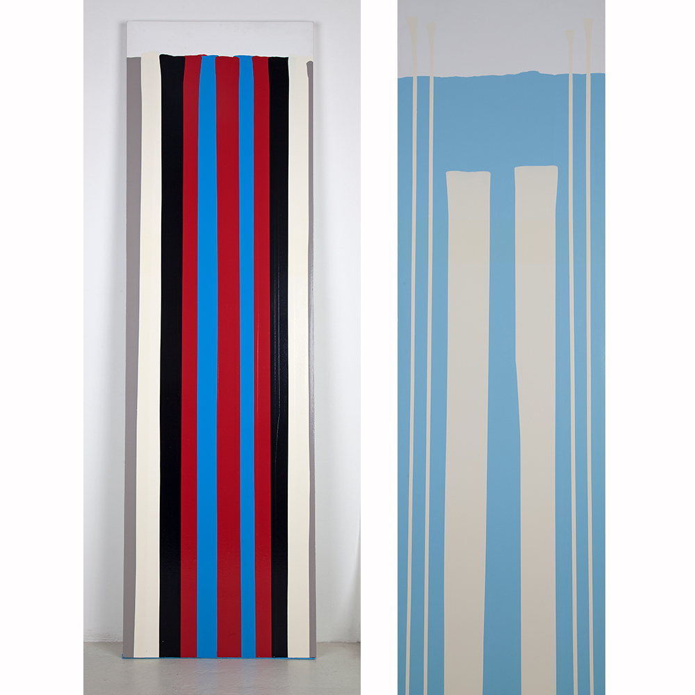 Fernando Uhía, Technoesmaltes #4, 2003 (left) and Technoesmaltes #4, 2003 (right). Industrial enamel on wood, 200 x 60 cm each. Collection of Art of the Bank of the Republic