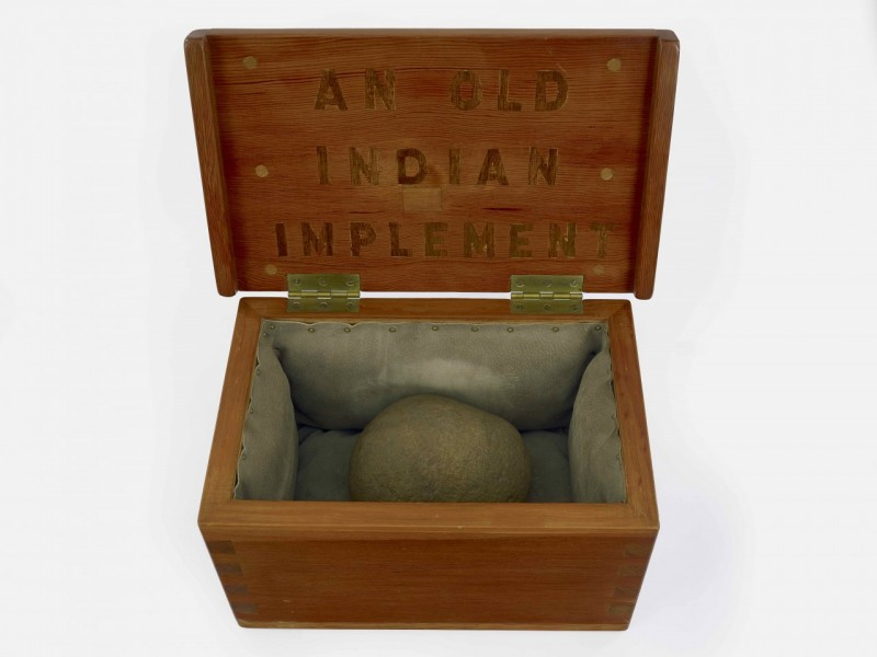 H.C. Westermann, An Old Indian Implement, 1971. Douglas fir, connecticut fieldstone, pigskin, walnut, 10 x 18 x 10 3/4 inches.