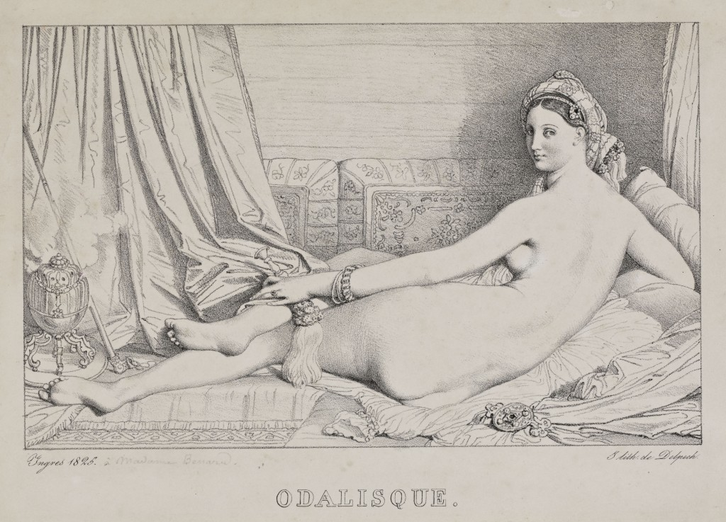 Jean-Auguste-Dominique Ingres, Odalisque, 1825. Lithograph. Mortimer C. Leventritt Fund, 1969.174. Courtesy of the Cantor Arts Center.