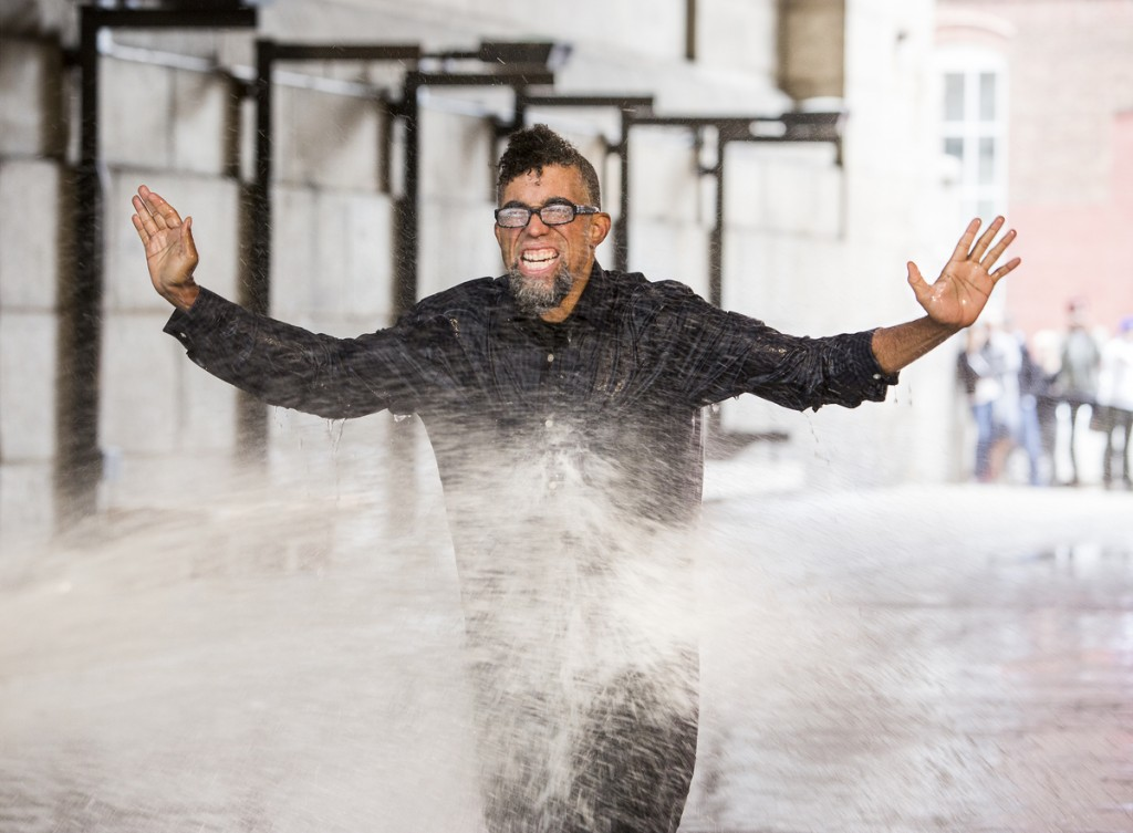 Dread Scott (American, born 1965), On the Impossibility of Freedom in a Country Founded on Slavery and Genocide (performance still), 2014. Pigment print, 22 x 30 inches. Project produced by More Art. Collection of the artist, Brooklyn. © Dread Scott. (Photo: Mark Von Holden Photography. © Dread Scott.) Courtesy of the Brooklyn Museum.
