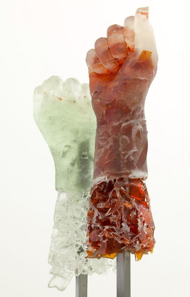 Rachel Owens, Pop's (White & Orange), 2015. Broken glass cast in resin and steel. Loan, courtesy of Zieher Smith & Horton, New York. Courtesy of the Cantor Arts Center.