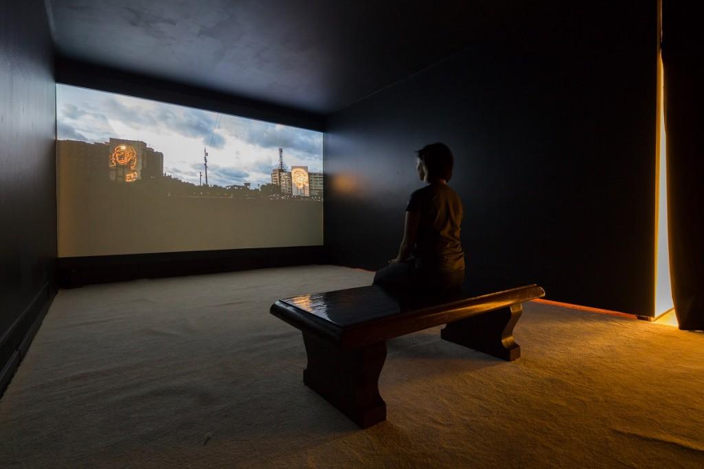 Coco Fusco, The Empty Plaza/La Plaza Vacia, 2012. Single channel video projection with sound. Courtesy the artist and Alexander Gray Associates, New York