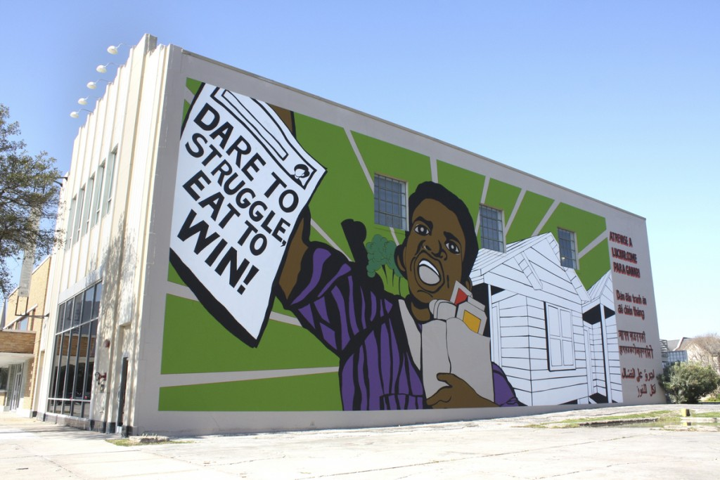 Otabenga Jones & Associates (founded 2002), The People's Plate Mural, 2015. Acrylic on wall, 96 x 36 feet. © Otabenga Jones & Associates. (Photo: Lawndale Art Center.) Courtesy of the Brooklyn Museum.