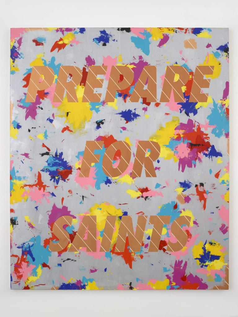 Deborah Kass, Prepare for Saints #2, 2015. Acrylic on canvas, 72 1/4 x 60 3/8 inches, 183.5 x 153.4 cm. Image courtesy the artist and Paul Kasmin Gallery.