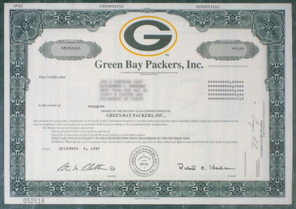 Packers Stock (a stock certificate for shares of the Green Bay Packers). Courtesy of the Internet.