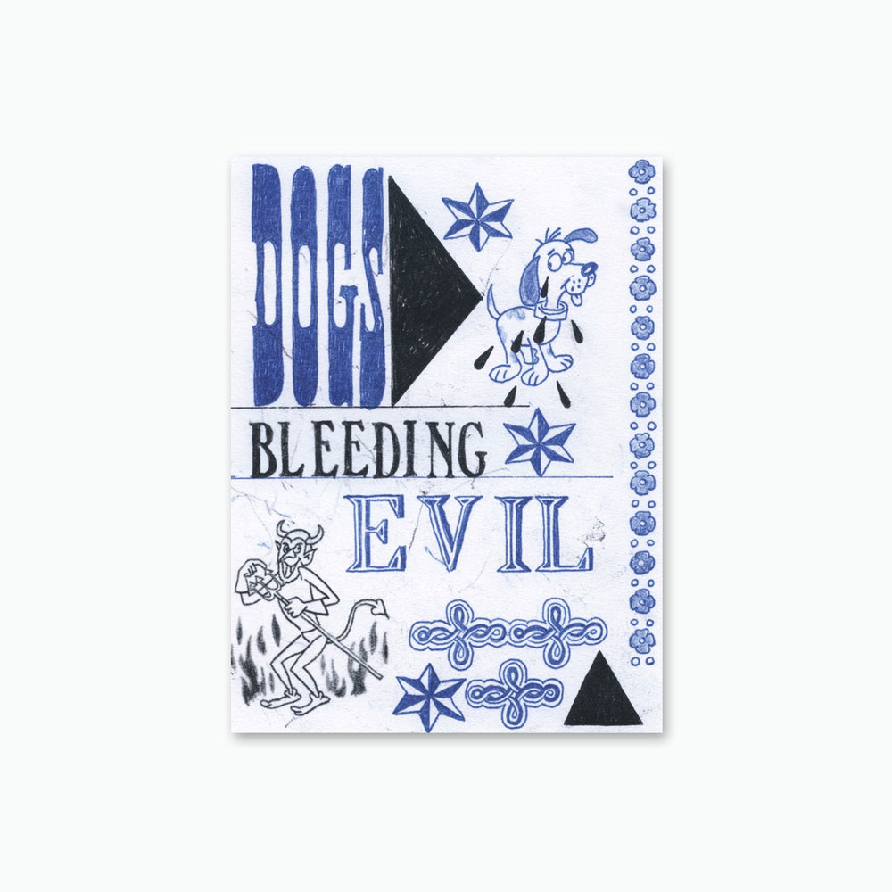 Mark Mulroney, Dogs Bleeding Evil, 2015. 62 pages, 31 color illustrations. Perfect bound softcover. 8 x 6 inches. Published by Ampersand Editions, 2015. First Edition of 200. Courtesy of the artist and Ampersand Gallery & Fine Books.