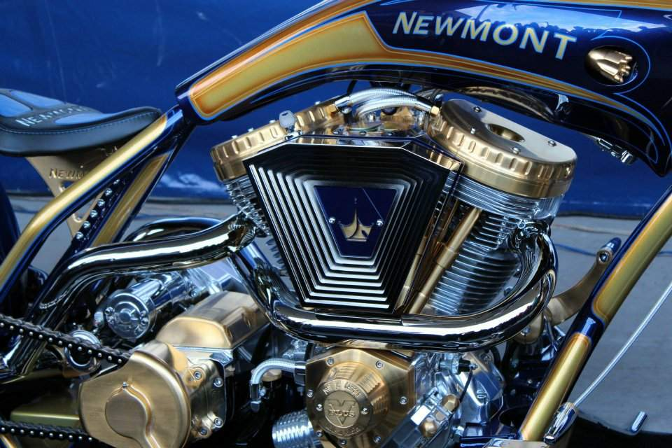 A gold-plated motorcycle designed by Paul Jr. Designs for Newmont Mining.